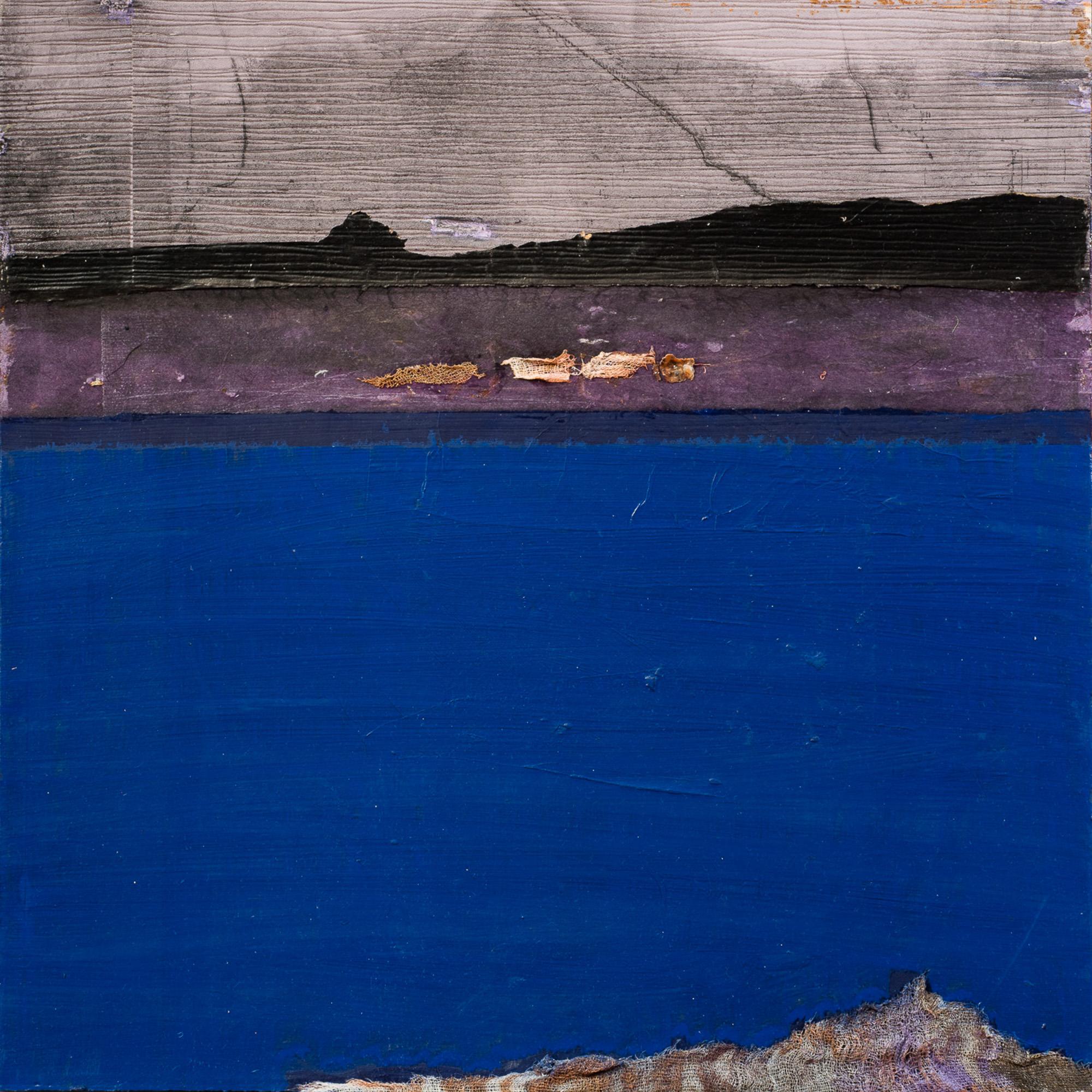 Dérive bleue II, 2017, Huile, gravure et techniques mixtes, 50x50cm