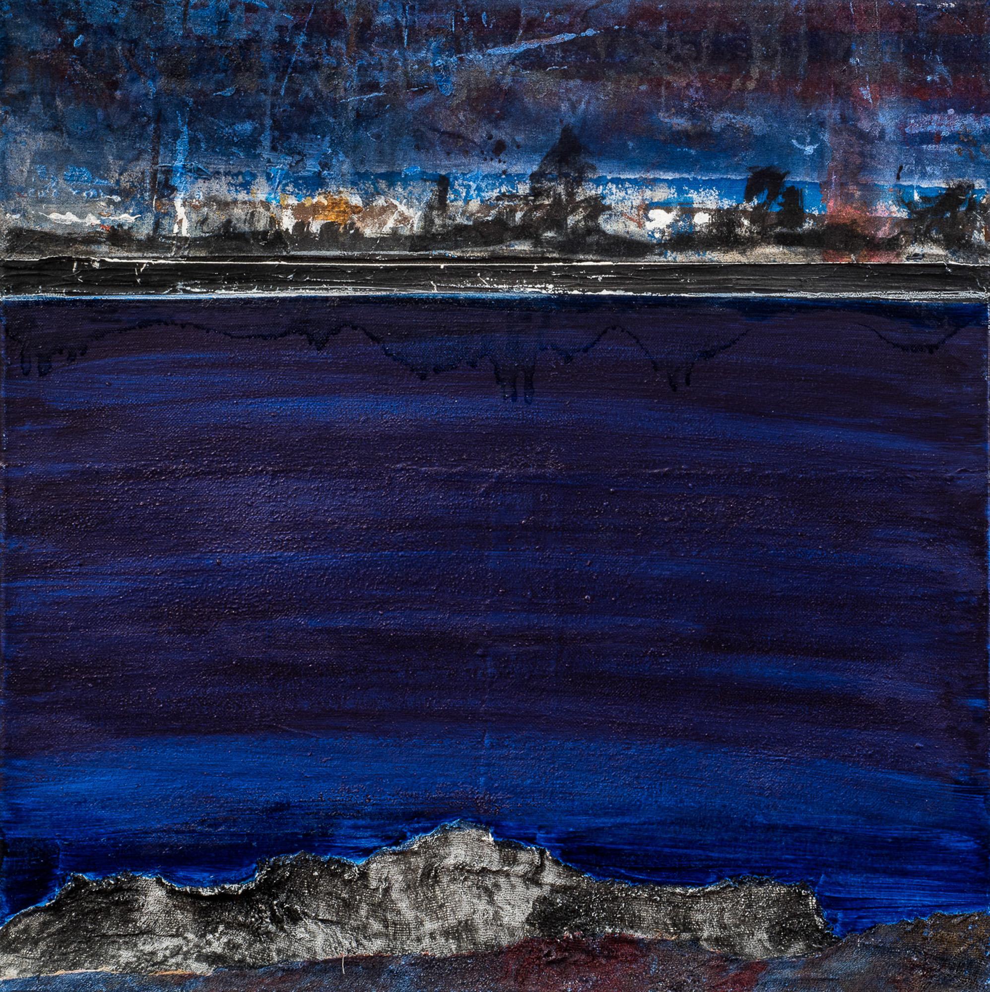 Dérive bleue I, 2017, Huile, gravure et techniques mixtes, 60x60cm