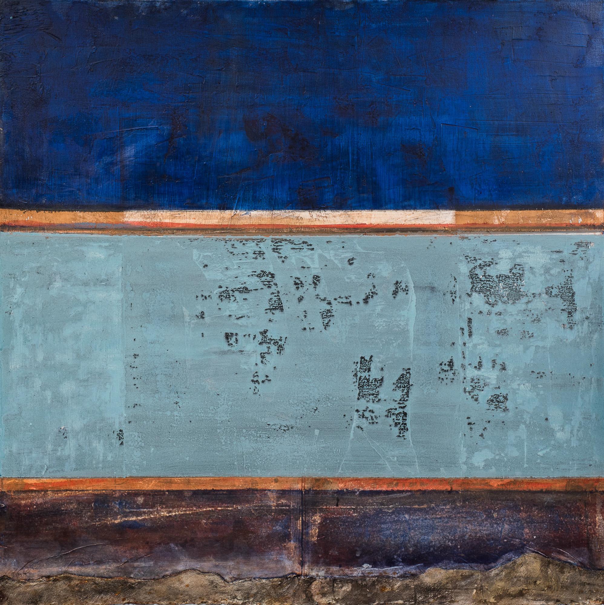 Composition, 2017, Huile, gravure et techniques mixtes, 100x100cm