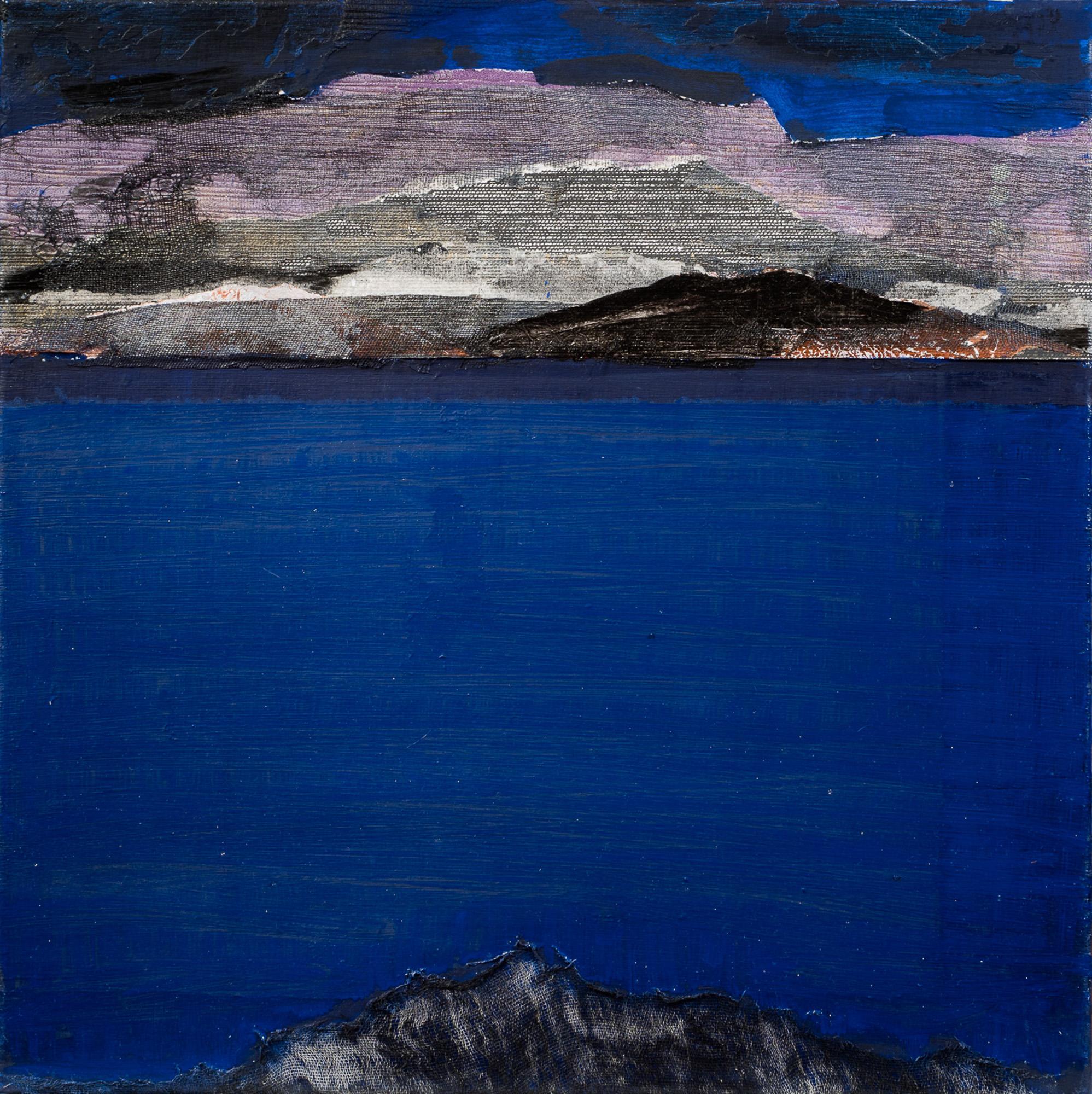 Dérive bleue III, 2017, Huile, gravure et techniques mixtes, 50x50cm
