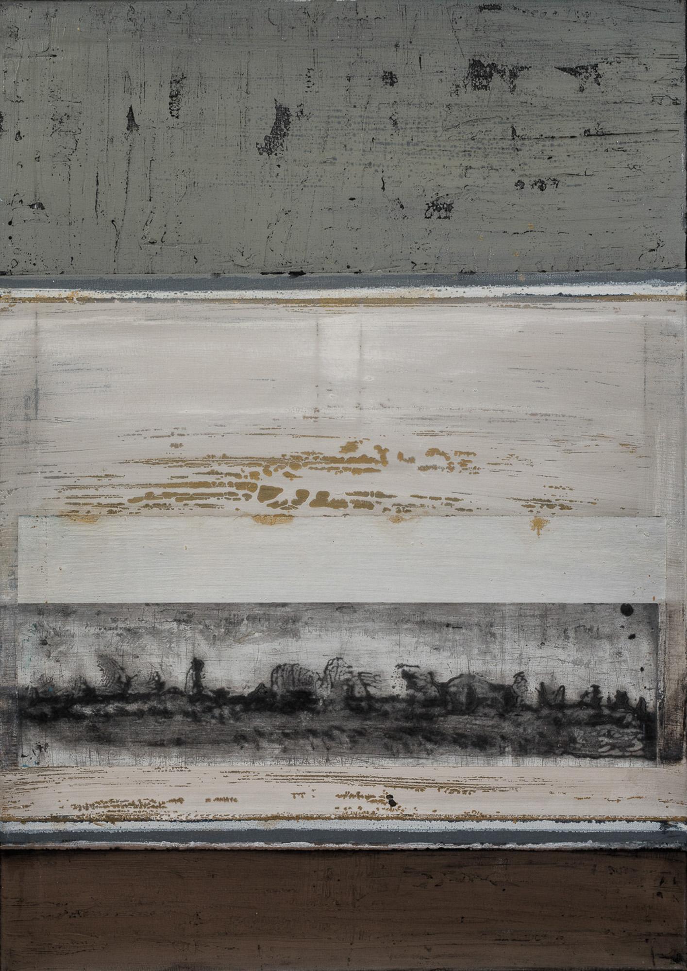 Passage I, 2017, Huile, gravure et techniques mixtes, 100x70cm