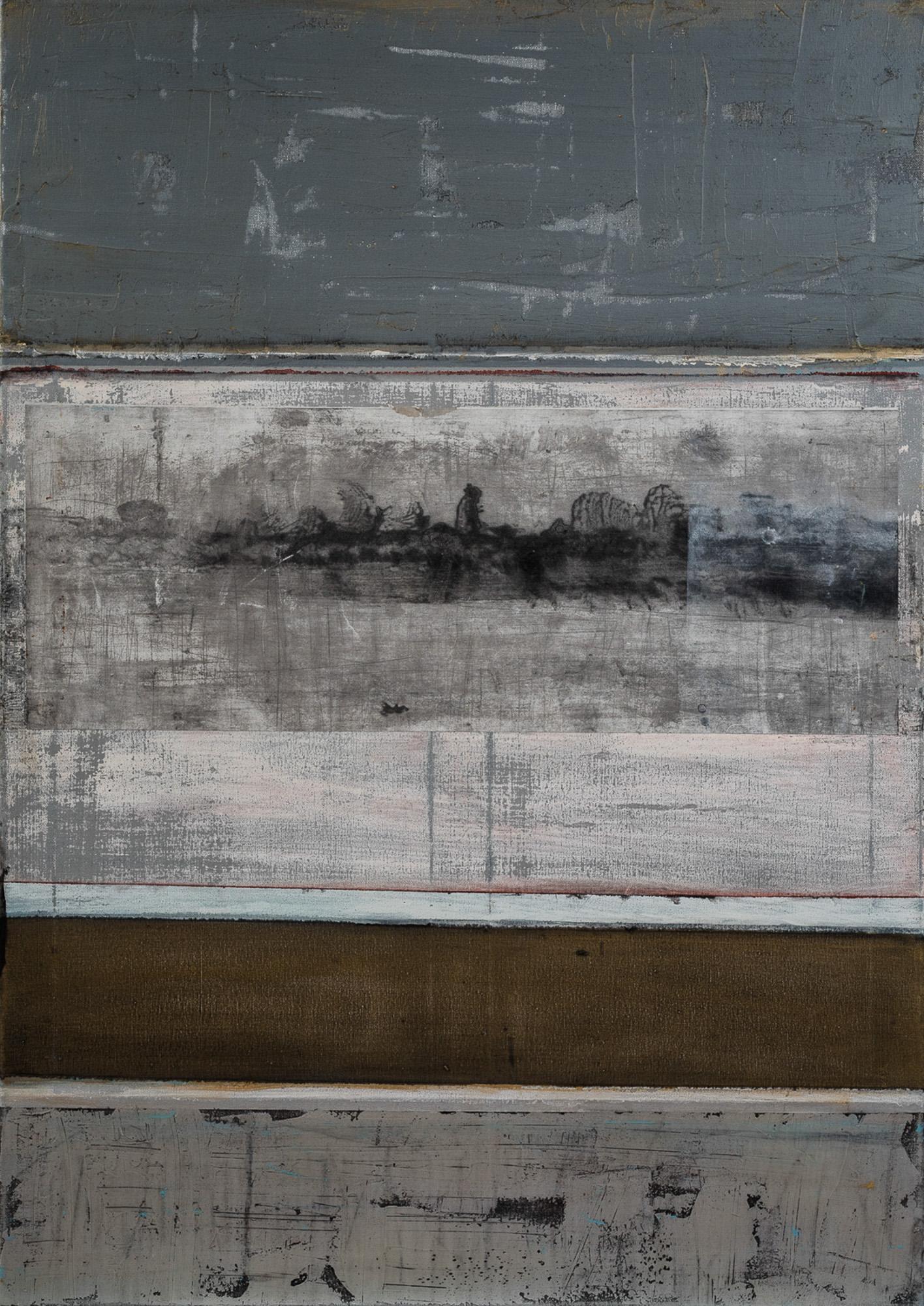 Passage II, 2017, Huile, gravure et techniques mixtes, 100x70cm