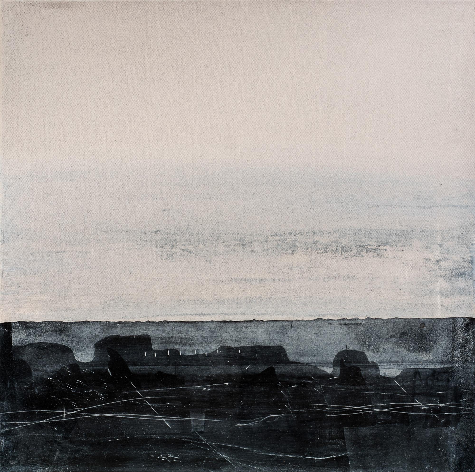 Paysage carbone I, 2017, techniques mixtes, 50x50cm